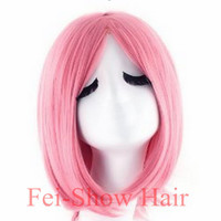 2015 New Style Synthetic Bobo Short Pink Wavy  Anime Wig without Bangs with Heat Resistant Cosplay Hair