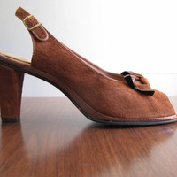 brown heeled sandals - 70s does 40s vintage Hush Puppies brown suede leather heels open peep toe pumps slingback retro midcentury size 8