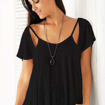 Casual V Neck Cut Out Solid Color T-Shirt