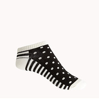 FOREVER 21 Polka Dot & Striped Ankle Socks Black/Cream One