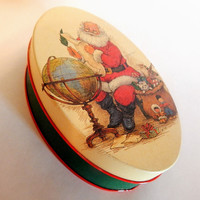 Old World Santa Oval Metal Covered Box Vintage Christmas Candy Tin Potpourri Press 1992 Lithograph