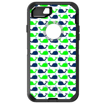 DistinctInk™ OtterBox Defender Series Case for Apple iPhone / Samsung Galaxy / Google Pixel - Green Navy Cartoon Whales