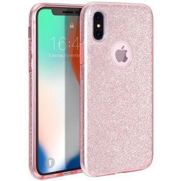LMFXT3 iPhone X Case, MILPROX iPhone X Glitter, Shiny Sparkly Silm Bling Crystal Clear , 3 Layer Hybrid, Anti-Slick/ Protective/ Soft Case for iPhone 10(2017)- 5.8 Pink