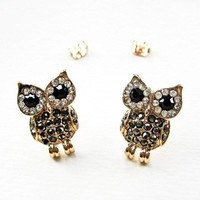 Owl Animal Stud Earrings - Black and Gold with Rhinestone Details