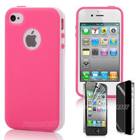 2-Piece Hybrid Case TPU Combo Cover Screen Protector For iPhone 4S 4 4G Hot Pink