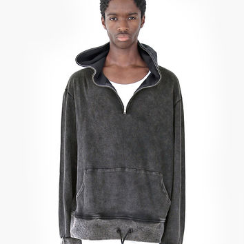 Pigment Dyed Full Zip Hoodie in Faded Black