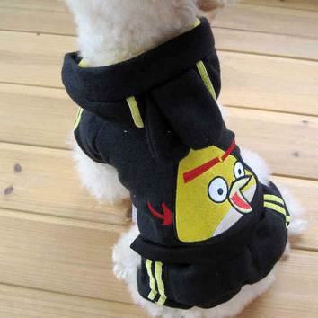 Dog Fashion Pet Clothing Two Piece YELLOW Angry Birds BLACK Jacket for Pet Accessories-Size 3