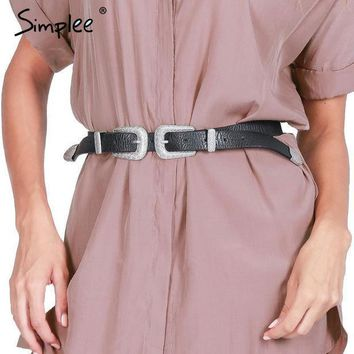 Simplee Apparel New Fashion Double Clasp Women Belt Buckle Pu Metal Waistband Vintage Wide Elastic Belt Girdle Cinturones Mujer