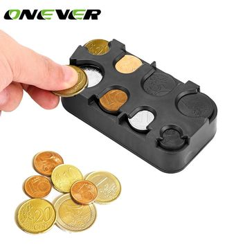 Auto Car Interior Coin Holder Case Storage Box Container Dispenser Organizer Plastic Money Holders for Euro Coins