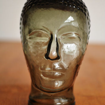 Vintage glass mannequin head, smoke grey, 1970s