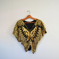 Vintage Gold Sequin Top Gold Butterfly Top 80s Sequin Butterfly Shirt Cocktail Blouse Gold Sequin Shirt Size Small to Medium