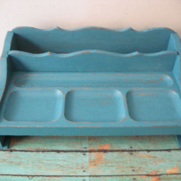 vintage Upcycled Teal Blue Vanity Valet Desk organizer .. distressed Chalk paint