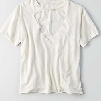 Don't Ask Why Cut-Out V-Neck T-Shirt, Chalk