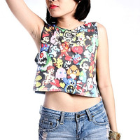 Vintage Retro Nintendo Games Crop Top Tank Shirt Cropped Tops S M L