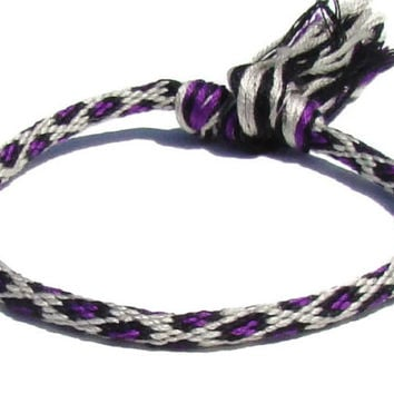 Purple leopard print friendship kumihimo bracelet with or without purchased magnetic clasp-- your choice