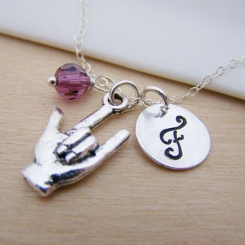 I Love You Sign Language Charm Necklace Swarovski Birthstone Ini 1f3b6ac81c