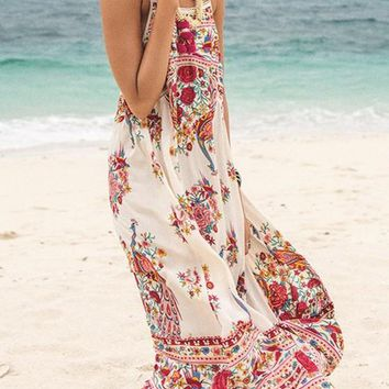 White Floral Irregular Draped Spaghetti Strap A-line Flowy Boho Mexican Sun Maxi Dress