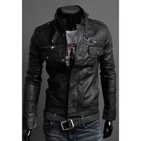 Black Stand Collar Multi-Zipper PU Leather Jacket