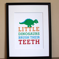 Boy Bathroom Art, Little Dinosaurs Brush Their Teeth, 8x10, Unframed | Luulla
