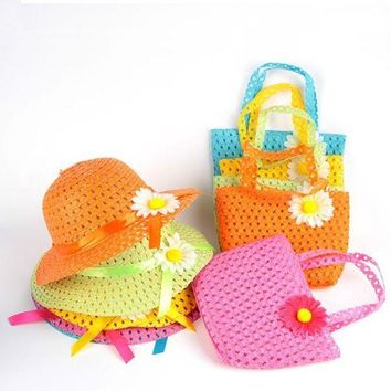 PEAP78W Cute Toddler Baby Girls Beach Suit Summer Straw Floral Handbag + Sun Hat Cap Set S01
