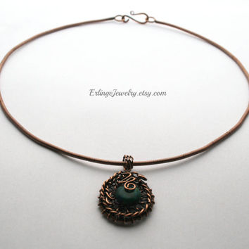 Copper necklace, copper wire wrapped collar necklase with 12mm Azurite gemstone bead