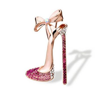 UALGL Fashion jewelry High-heeled Shoes Bow Lapel Pin Wedding Crystal Brooches Broche