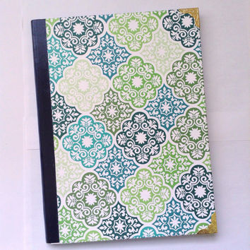 Green Composition Notebook- Damask Floral Design Gold White