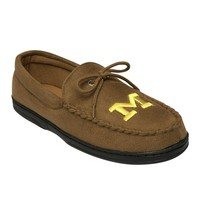 Michigan Wolverines Microsuede Moccasins - Men's Wide-Width (Brown)