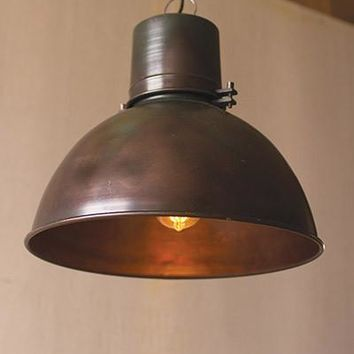 Metal Hanging Pend Lamp With Green Patina