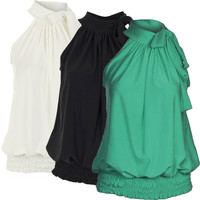 Women Ladies Pleated Coloured Halter Neck Ruched Sexy Top Blouse Hot Party Plus Size Sleeveless Baggy Pleated = 1945766596