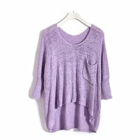 Concise Design Batwing Loose Sweater Violet