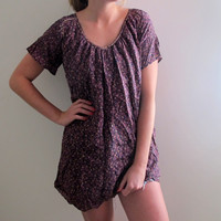 Vintage Floral Print Tunic Dress Purple Pink Flowers Shabby Chic Boho Bohemian Free People Style Summer