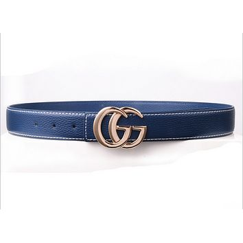 GUCCI Fashion Woman Men Fashion Smooth Buckle Waistband Leather Waistband Blue G