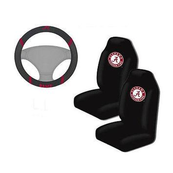 Licensed Official NCAA Alabama Crimson Tide Car Truck Front Seat Covers & Steering Wheel Cover Set