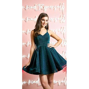 Short A-Line Glitter Fit and Flare Peacock Homecoming Dress Side Pockets