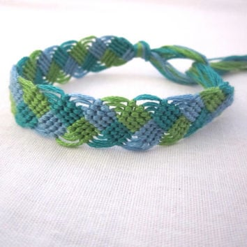 Friendship Bracelet Waves Blue Green Macrame