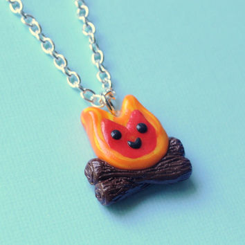 Kawaii Campfire Charm Necklace Polymer Clay by PumpkinPyeBoutique