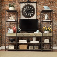 TRIBECCA HOME Sadie Industrial Rustic Open Shelf Media Console with Two Towers | Overstock.com Shopping - The Best Deals on Entertainment Centers
