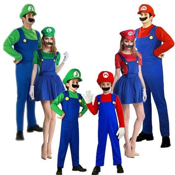 2018 New year Super Mario Cosplay Costumes Children family Funy Luigi Bros Plumber Purim Costume Fancy Dress Christmas party