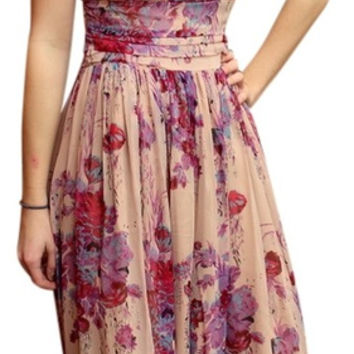 Plenty By Tracy Reese Nwt $395 Anthropologie Silk Floral Maxi Dress Small