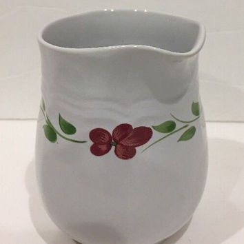 Lorraine AMG Creamer & Sugar Bowl W/ Lid Red Yellow Blue Flowers Green Leaves