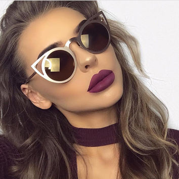 ROYAL GIRL 2017 New Women Sunglasses Vintage Cat Eye Sun glasses Metal Eyeglasses Frames Mirror Shades Sexy Sunnies ss309