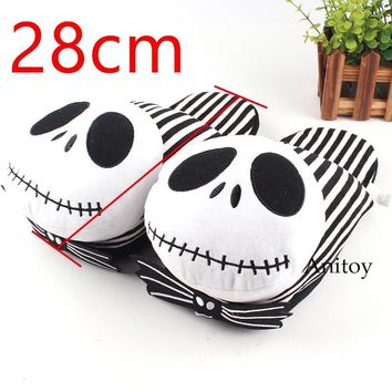 The Nightmare Before Christmas Jack Skellington Doll Plush Toys Plush Shoes Home House Winter Stuffed Slippers 28cm