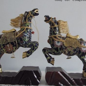 Chinese Royal Copper Bronze Cloisonne Enamel Gild Lucky Broncos War Horse Pair