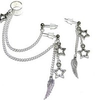 Double Piercing Silver Star Wing Feather Ear Cuff Set Handmade