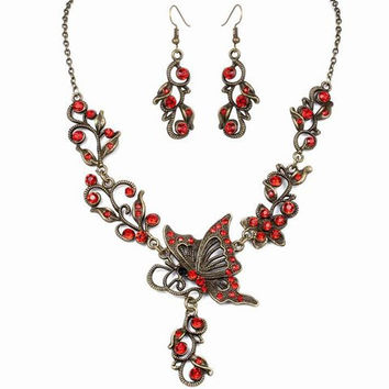 Deep Red Rhinestone Butterfly Cut Out Necklace with Earrings