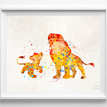 Lion King Print, Mufasa and Simba, Type 2, Watercolor Art, Disney Poster, Office Wall Art, Dorm Decor, Bedroom Wall Art, Halloween Decor