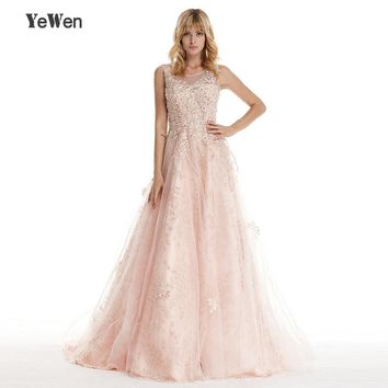 YEWEN New Style Elegant Peach Color Evening Dress Sleeveless Small Flowers beads crystals Evening Dresses 2018 Prom dresses