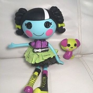 Lalaloopsy Blue Doll Full Size Scraps Stitched n Sewn Black Hair w/ dress shoes