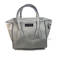 Three Pocket Two Tone Satchel Available in Four Colors